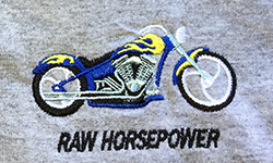 Raw Horsepower blue cycle embroidered on grey Tee